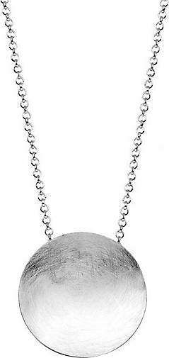 Nenalina Halskette Basic Geo Brushed Kreis Anhänger 925 Silber