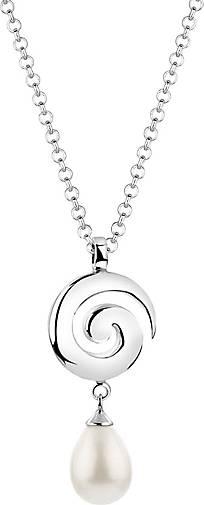 Nenalina Halskette Muschelkernperle Tropfen Drop Spirale 925 Silber