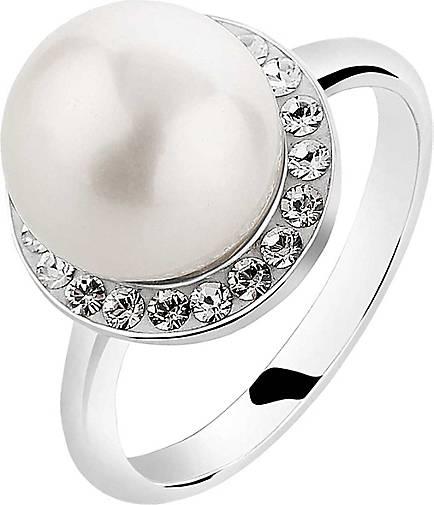 Nenalina Ring Muschelkern-Perle Kristalle 925 Silber