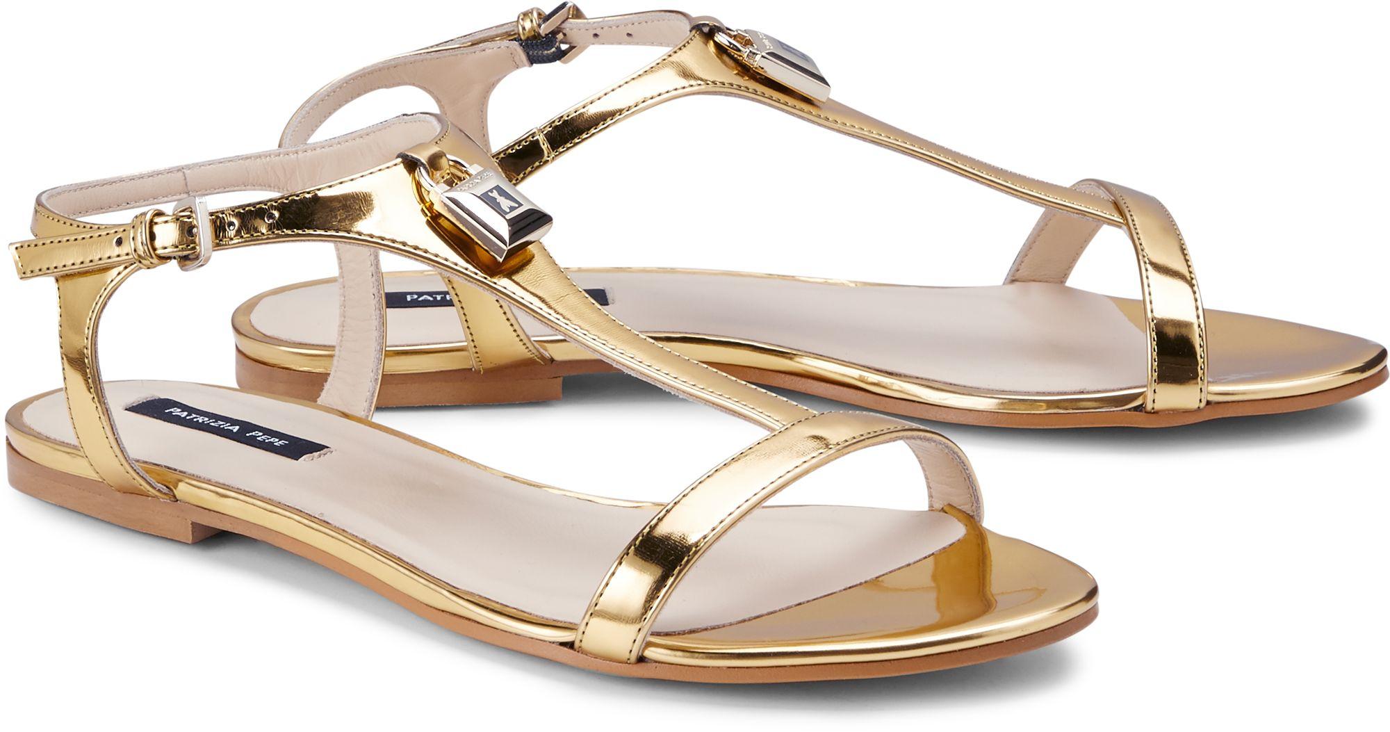 Luxus Sandalette von Patrizia Pepe in gold für Damen. Gr. 36,37,37,5,38,38,5,39,40,40,5