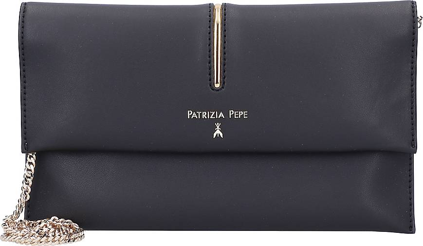 Patrizia Pepe Piping Clutch Tasche Leder 27 cm