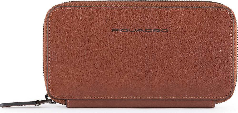 Piquadro, Black Square Handytasche Leder 17 Cm in dunkelbraun, Handyhüllen & Zubehör für Damen