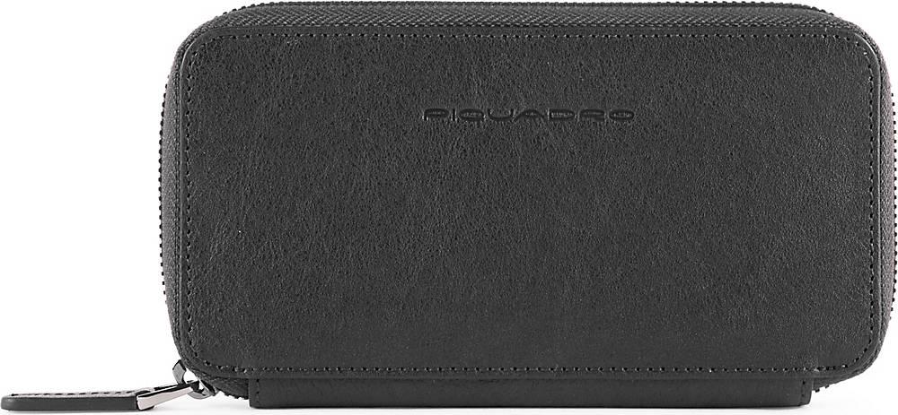 Piquadro, Black Square Handytasche Leder 17 Cm in schwarz, Handyhüllen & Zubehör für Damen
