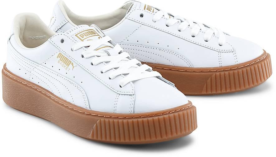puma damen basket platform core sneaker white