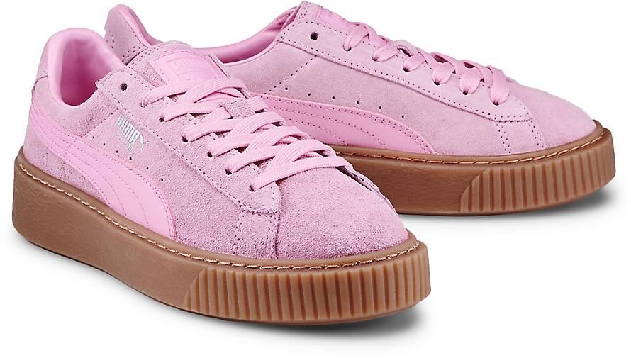 puma rosa suede platform
