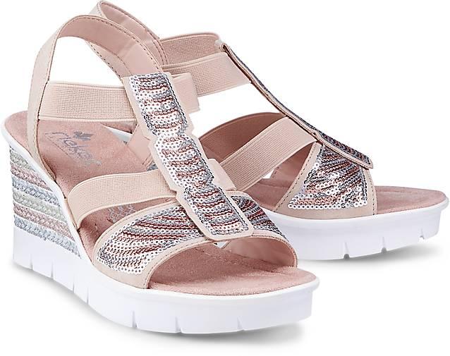 Keil Sandalette von Rieker in rosa für Damen. Gr. 36,37,38,39,40,41 Preisvergleich