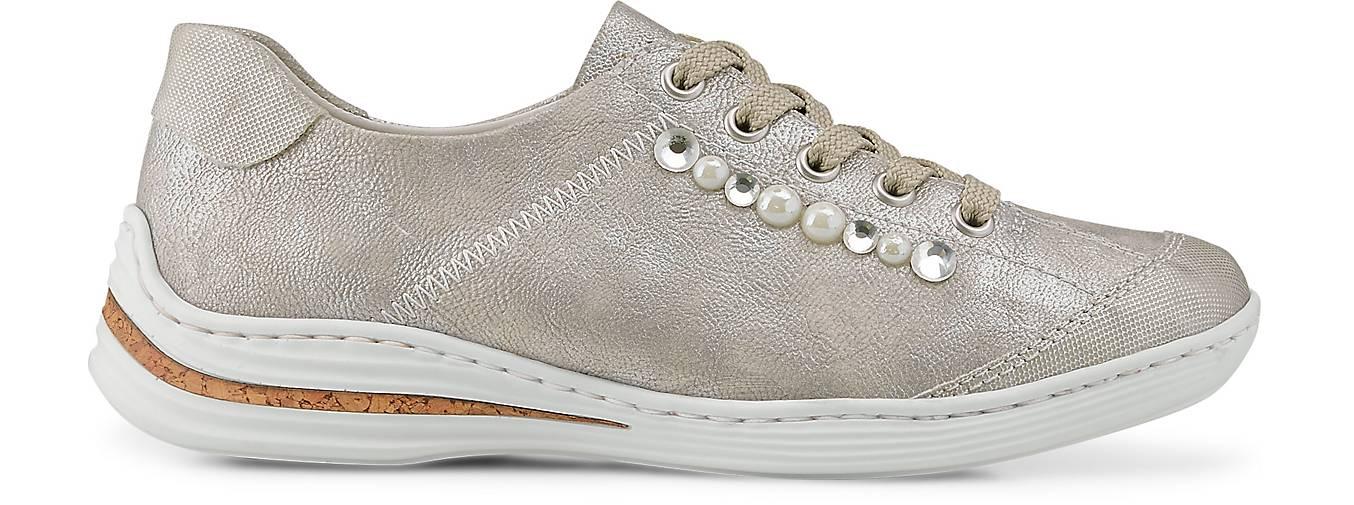 Rieker Damen Sneakers Metallic Schnürer Silber