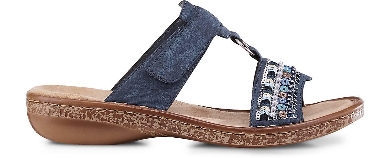 Rieker Sommer Sandale Synthetik blau mittel Pantoletten