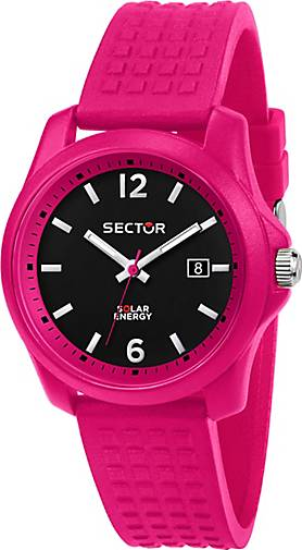 Sector Quarzuhr 16.5 40MM 3H BLACK DIAL PINK SILICON ST