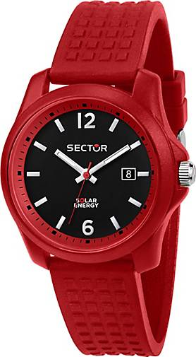 Sector Quarzuhr 16.5 40MM 3H BLACK DIAL RED SILICON ST