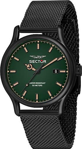 Sector Quarzuhr 660 43MM 3H GREEN DIAL MESH BAND BLACK