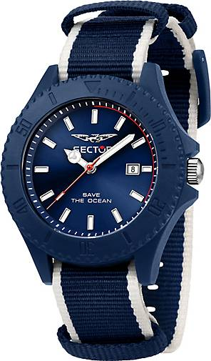 Sector Quarzuhr SAVE THE OCEAN 43MM 3H BLUE DIA BLU+WH S