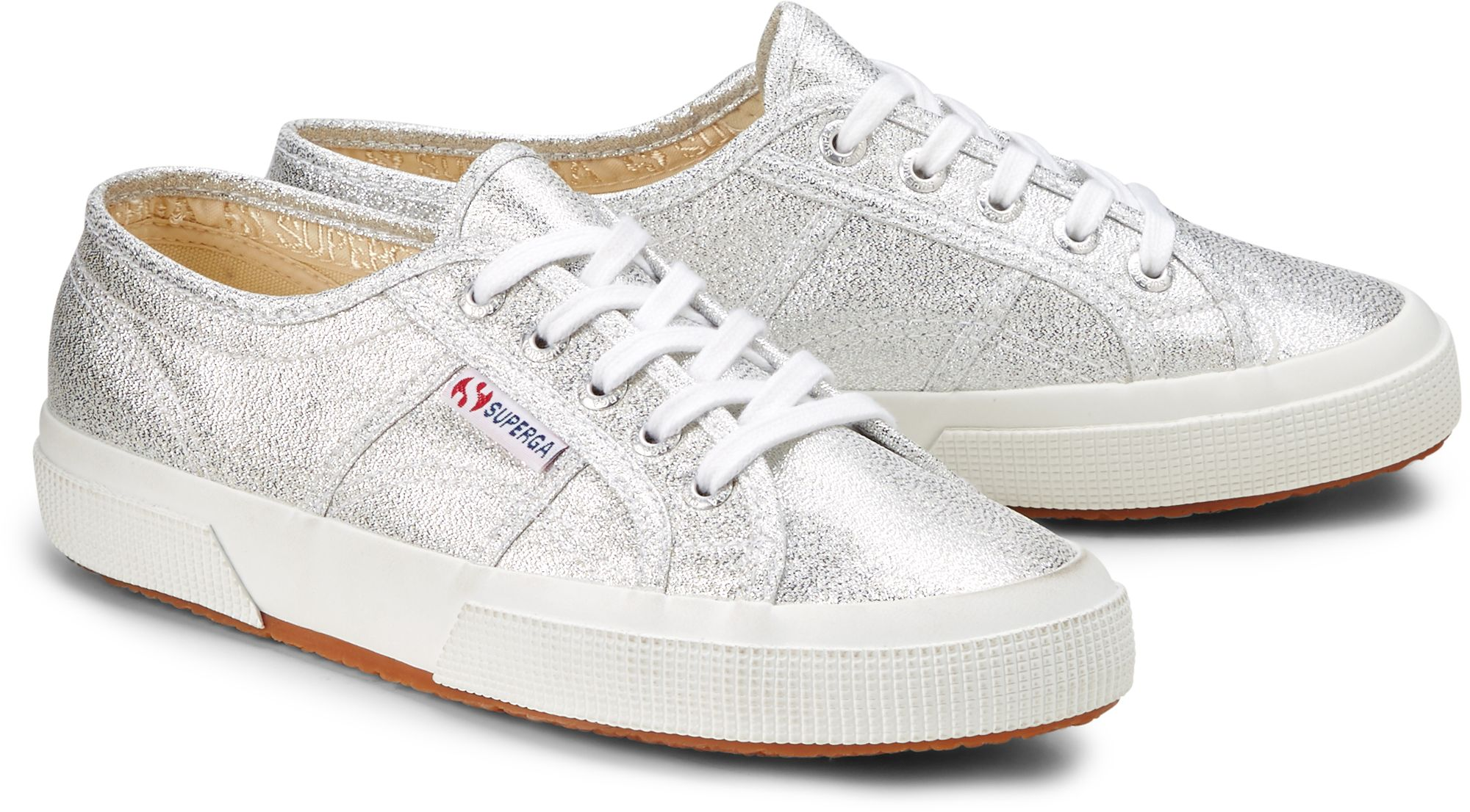 8c312a71024242 Glitzer Sneaker von Superga in silber für Damen. Gr. 36