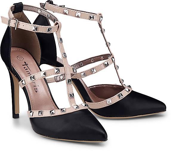 Tamaris High-Heel-Pumps, mit verstellbarer Schnalle, schwarz, schwarz