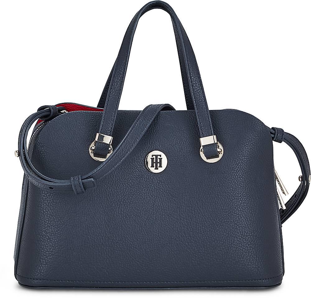 Tommy Hilfiger| Core Med Satchel in dunkelblau| Henkeltaschen für Damen | Taschen > Handtaschen > Henkeltaschen | Tommy Hilfiger