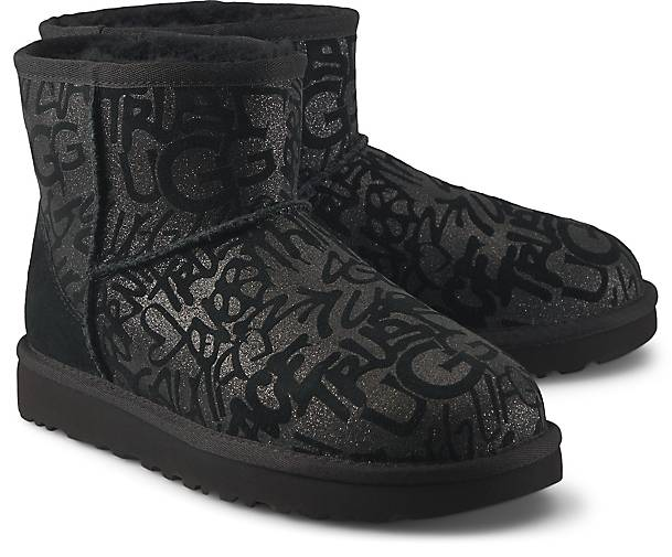 Ugg Boots Classic Mini Sparkle Graffiti In Schwarz Kaufen