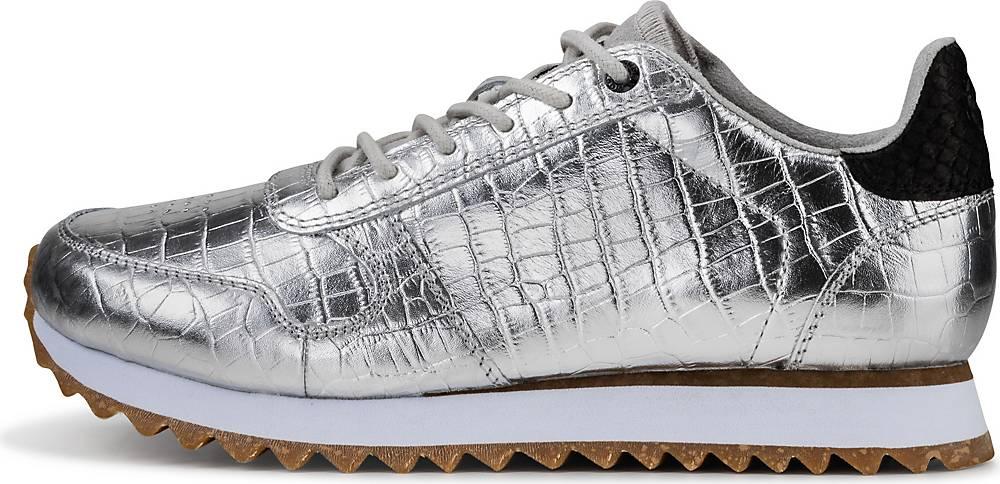 WODEN, Sneaker Ydun Croco Shiny in silber, Sneaker für Damen, Größe: 36