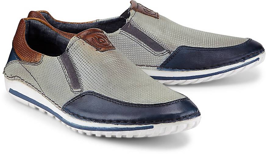 bugatti Denim Leder-Slip-On
